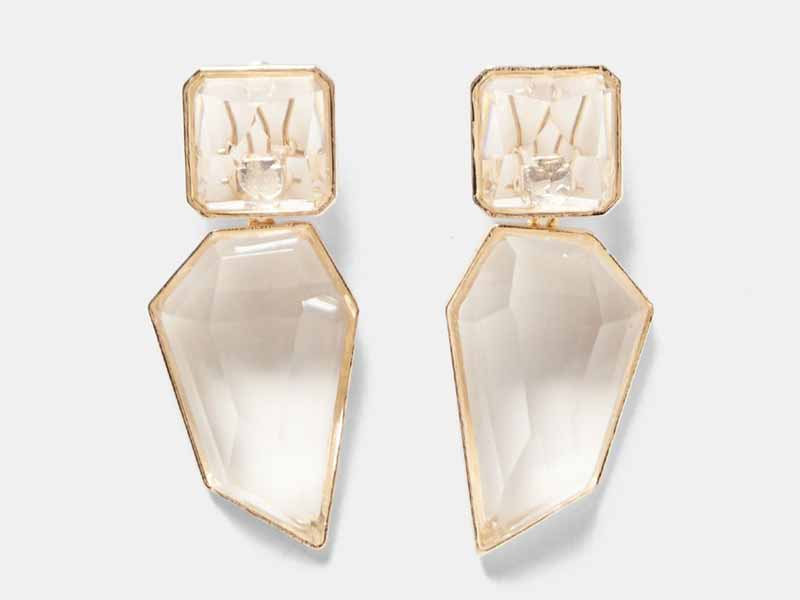 Add instant gloss to your outfit with Zara's Clear stone earrings