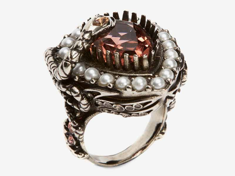 Alexander McQueen's Ruby-red jewel and pearl encrusted ring